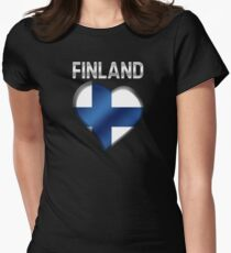 Finland - Finnish Flag Heart & Text - Metallic T-Shirt