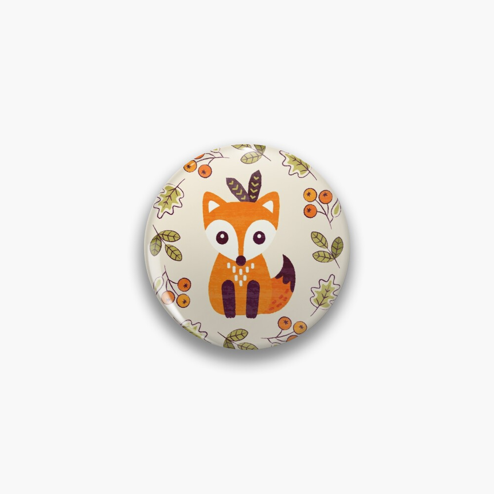 Little Fox with Autumn Berries Pin
