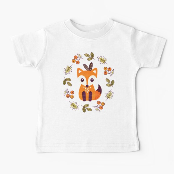 Little Fox with Autumn Berries Baby T-Shirt