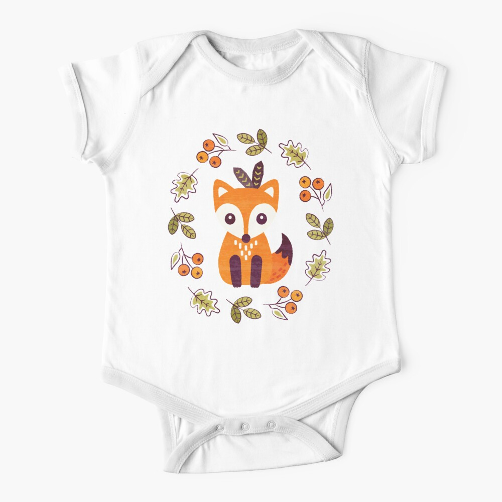 Little Fox with Autumn Berries Baby One-Piece