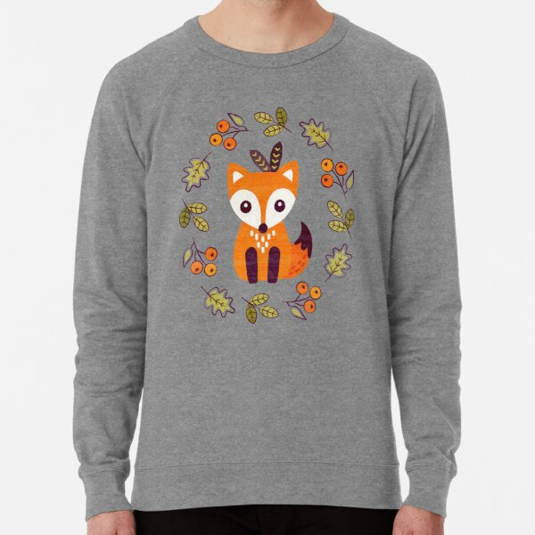 Little Fox with Autumn Berries Lightweight Sweatshirt