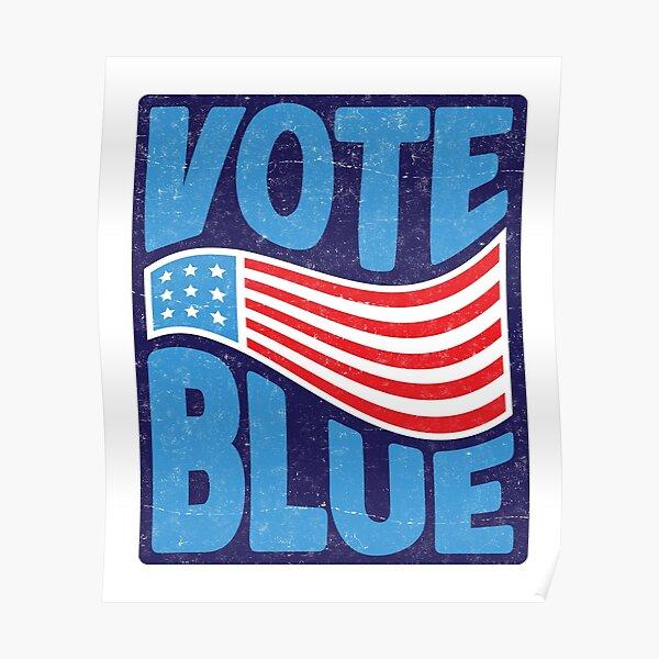 VOTE BLUE Retro USA Flag Poster