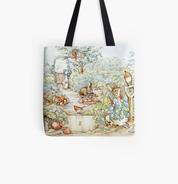 Beatrix Potter Storybook Characters in Garden All Over Print Tote Bag