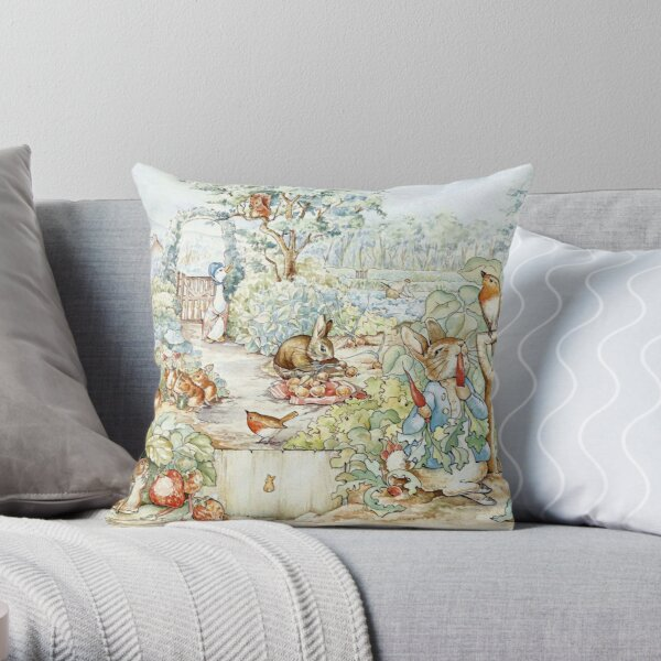 Beatrix Potter Storybook Characters in Garden Throw Pillow