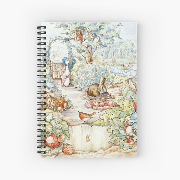 Beatrix Potter Storybook Characters in Garden Spiral Notebook