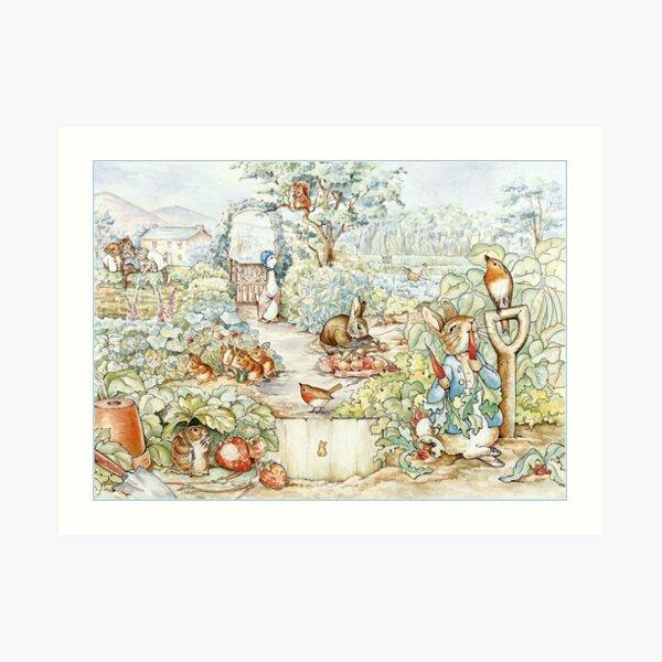 Beatrix Potter Storybook Characters in Garden Art Print