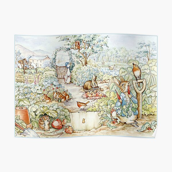 Beatrix Potter Storybook Characters in Garden Poster