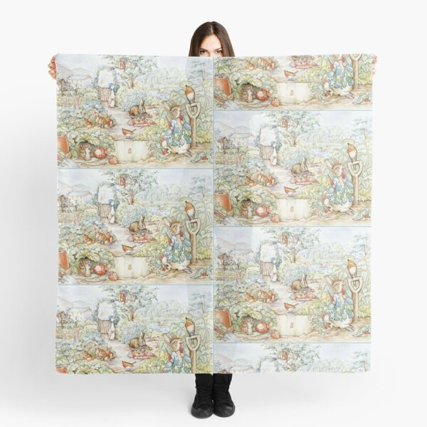 Beatrix Potter Storybook Characters in Garden Scarf