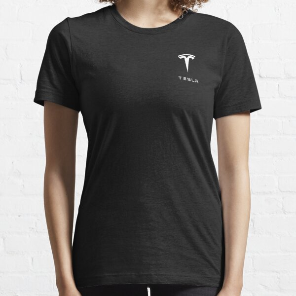 Tesla Logo White T-shirt essentiel