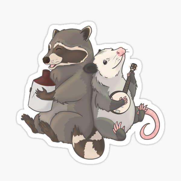 Opossum and a Racoon playing instruments Sticker