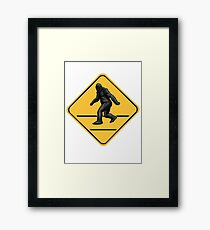 Caution! Bigfoot Crossing! Framed Print