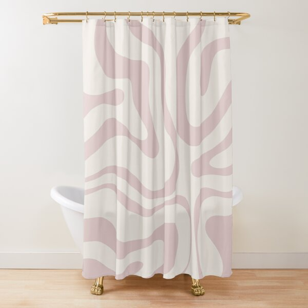 Modern Retro Liquid Swirl Contemporary Abstract Pattern in Pale Dusky Pink and Ivory Shower Curtain