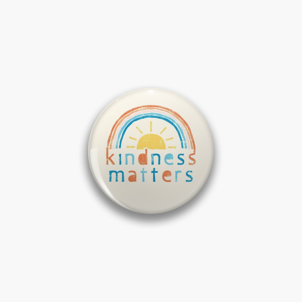 Kindness Matters. Typography Design with Rainbow Pin