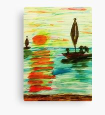 seascape , of markers and watercolor Canvas Print