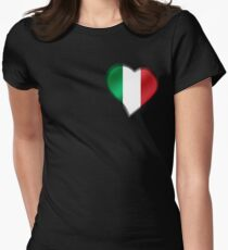 Italian Flag - Italy - Heart Womens Fitted T-Shirt