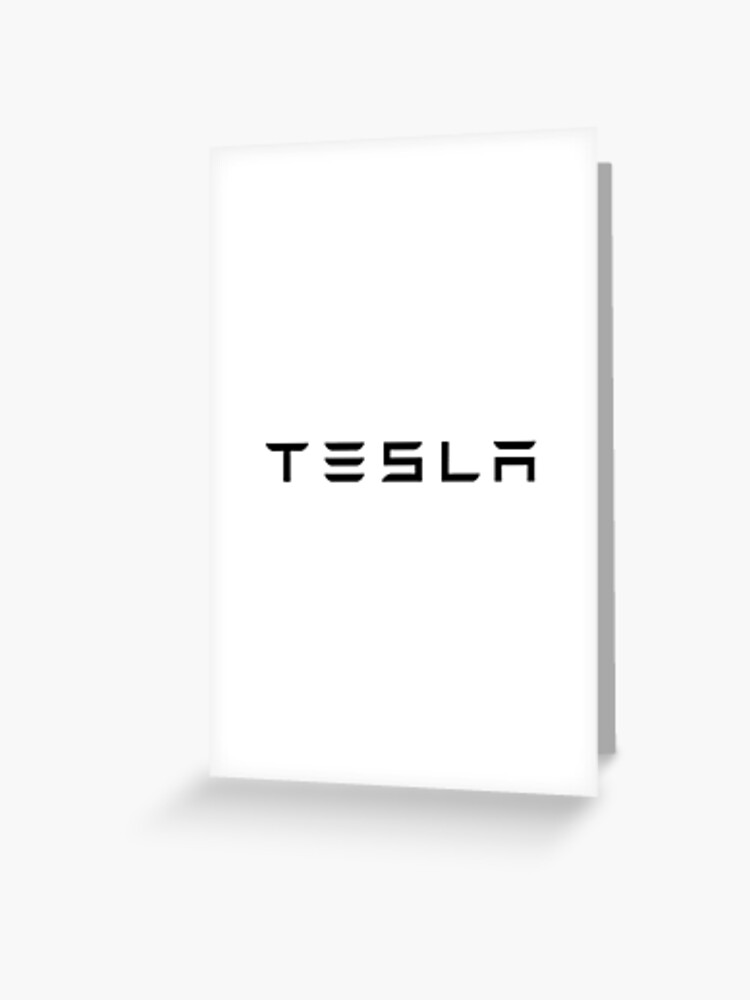 Tesla Logo Black Official Text Only Greeting Card By Ericascarletta Redbubble