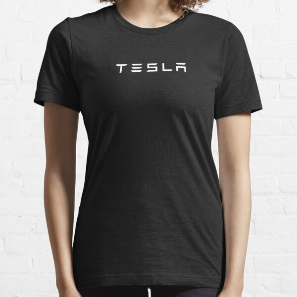Tesla Logo White Official Text Only Essential T-Shirt