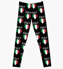 Italy - Italian Flag Heart & Text - Metallic Leggings