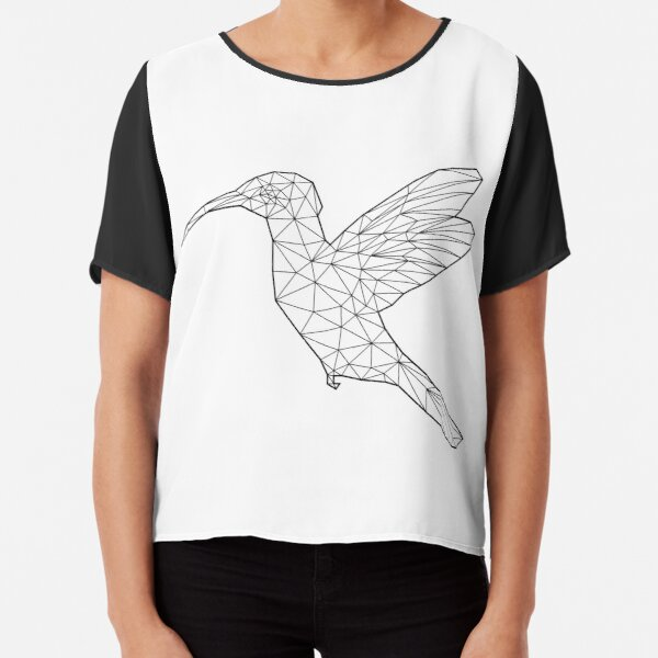 Low Poly Line-art Hummingbird Chiffon Top