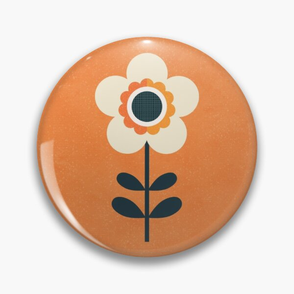 Retro Blossom - Orange and Cream Pin