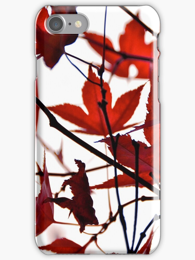 Lovely Red Leaves iPhone Case by Denis Marsili
