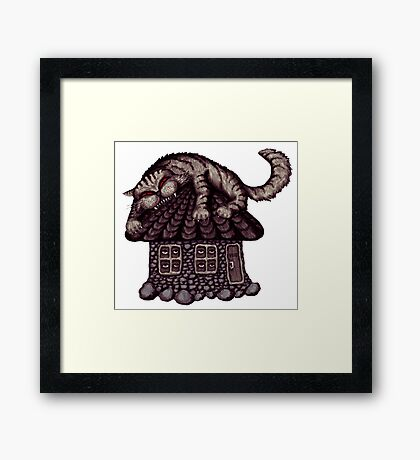 Anxiety cat surreal black and white pen ink drawing Framed Print