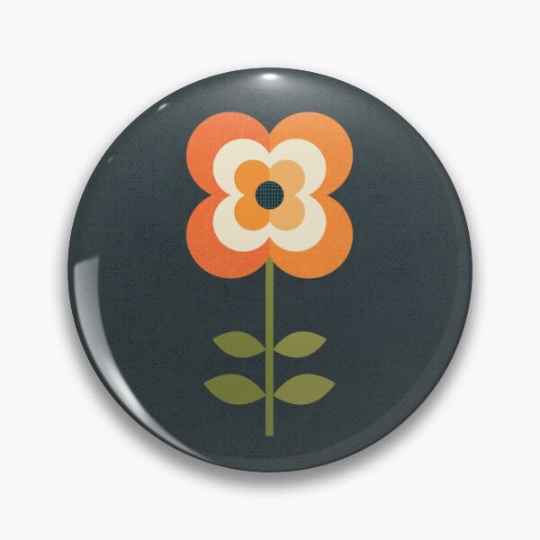 Retro Flower - Orange and Charcoal Pin