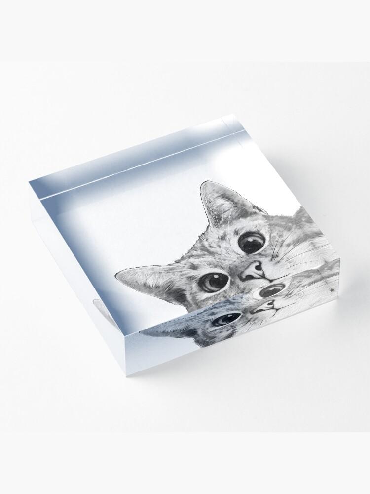 Alternate view of sneaky cat Acrylic Block