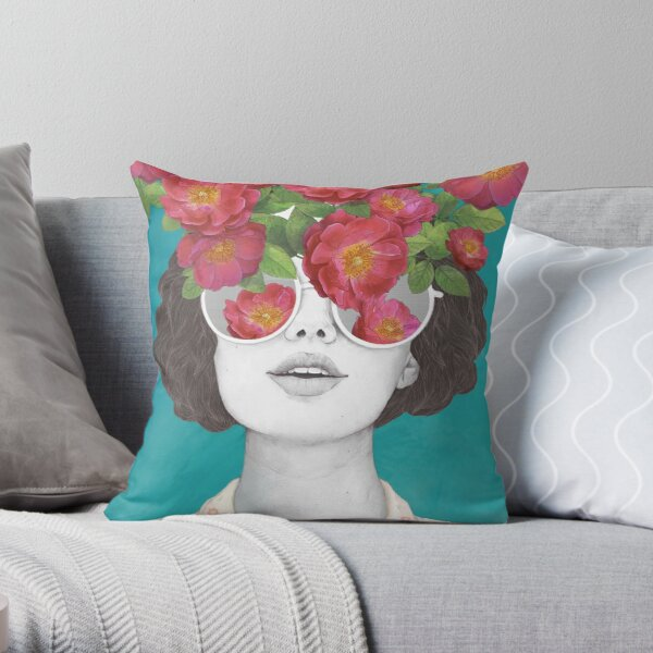 The optimist // rose tinted glasses Throw Pillow
