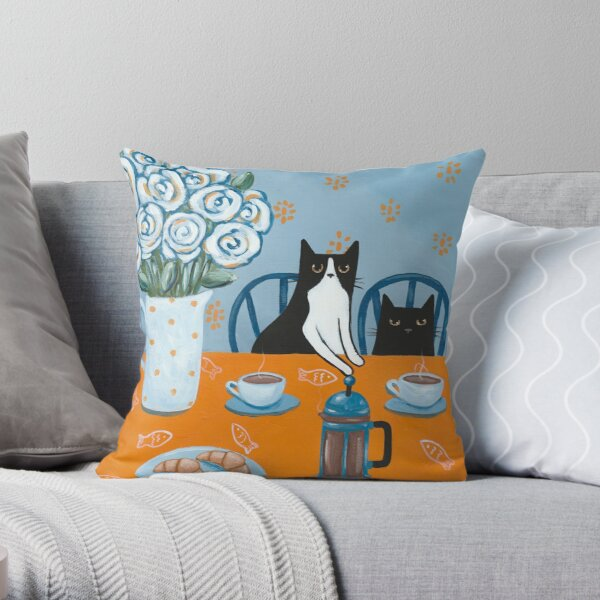 French Press Coffee Cats Throw Pillow