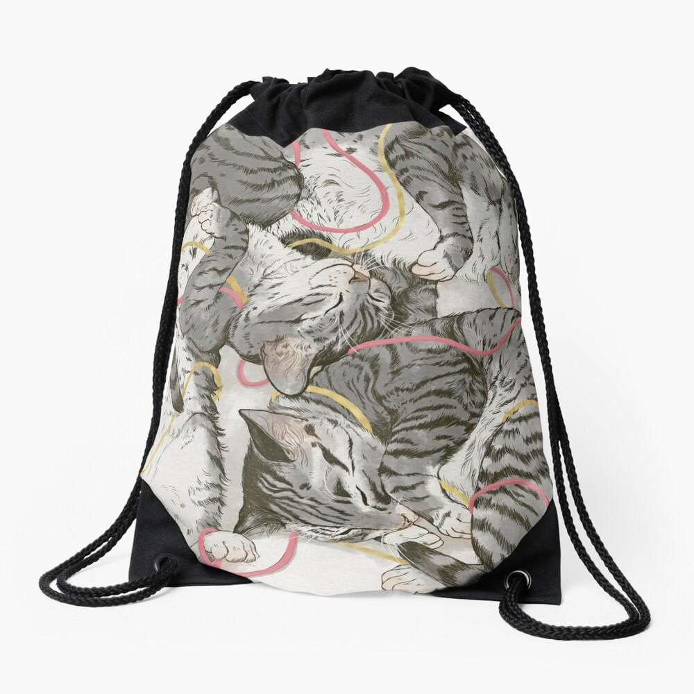 cats /rose and gold Drawstring Bag