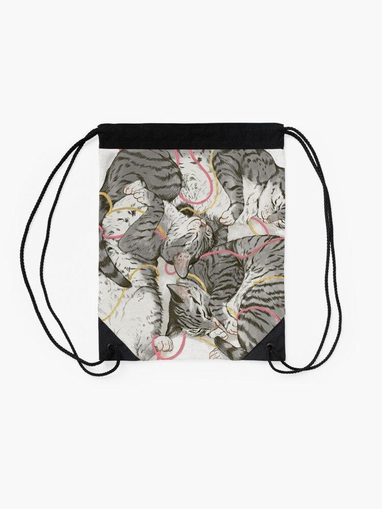 Alternate view of cats /rose and gold Drawstring Bag