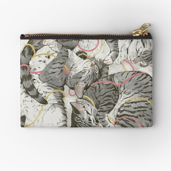 cats /rose and gold Zipper Pouch