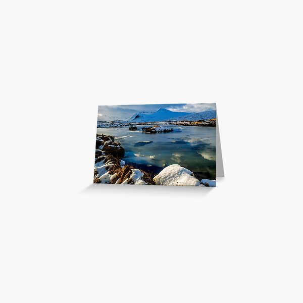Rannoch Moor and Lochan in full Scottish Winter with a frozen lochan and a blanket of snow.  Greeting Card
