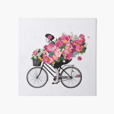 floral bicycle  Art Board Print
