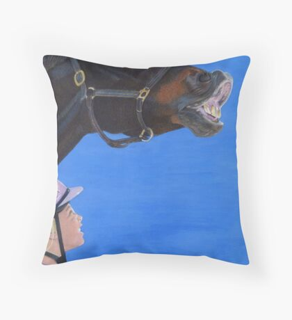 Funny Face - Horse making funny face Throw Pillow