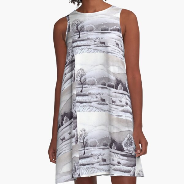 Countryside Charming Sheep in Ibiza A-Line Dress