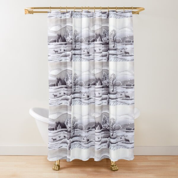 Countryside Charming Sheep in Ibiza Shower Curtain