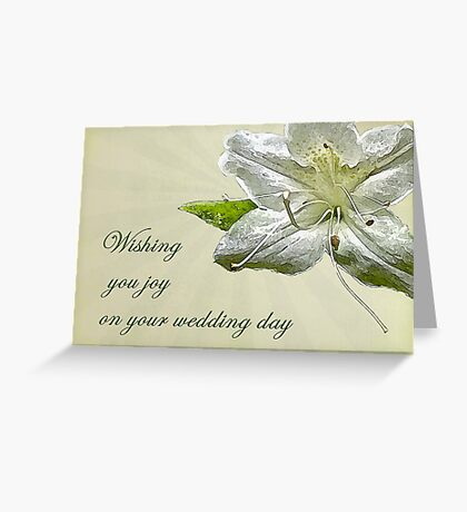 Wedding Wishes Card - White Azalea Greeting Card