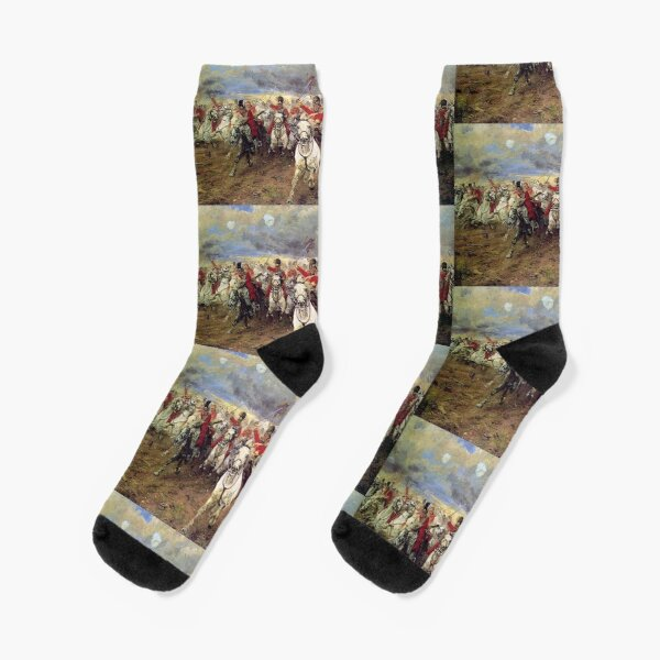 Scotland Forever! 1881, Battle of Waterloo, Lady Butler, Charge of the Royal Scots Greys. Socks