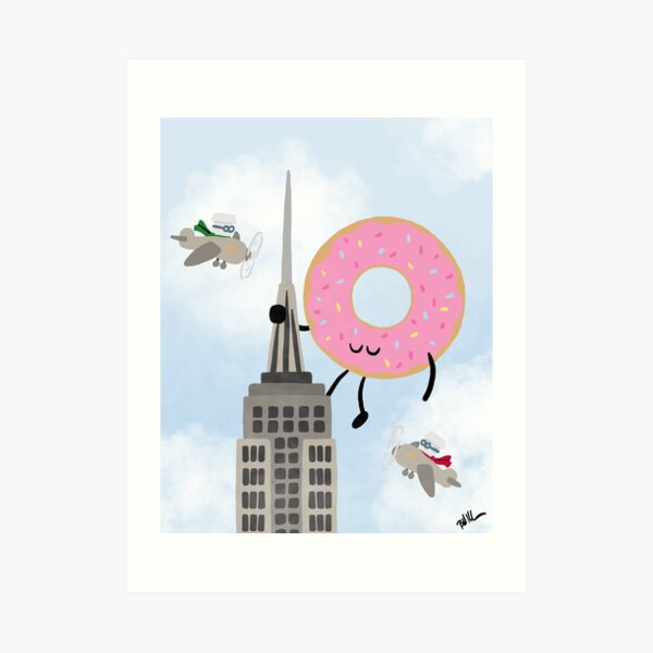 Attack of the Giant Donut! Art Print