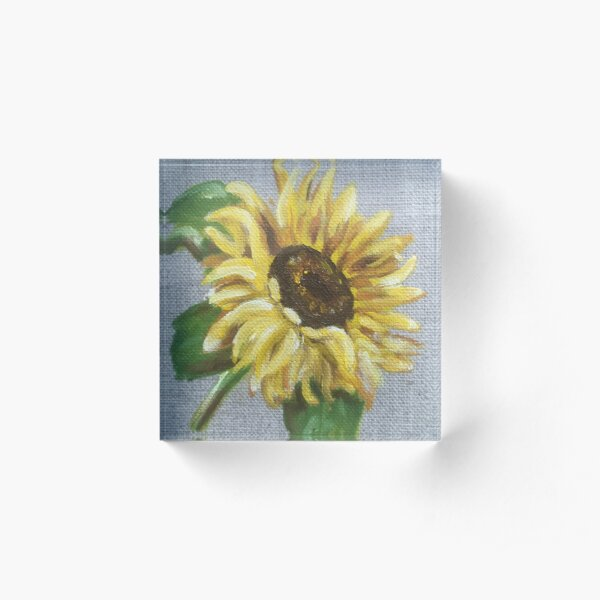 Sun Flower Oil Painting by Angela Brown Art Acrylic Block