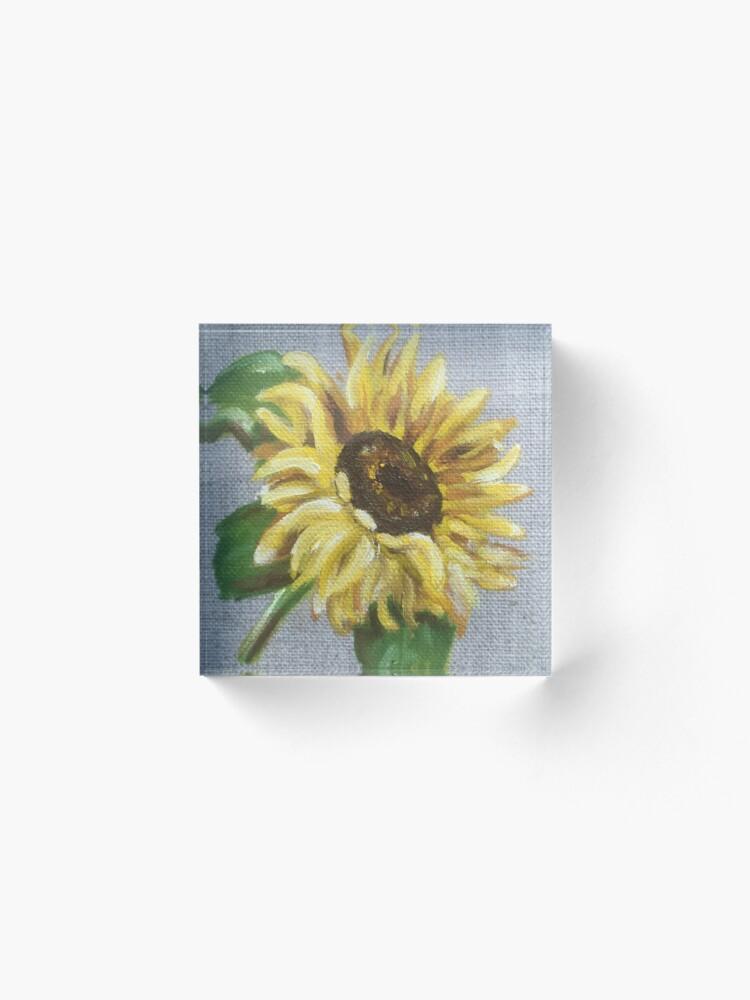 Alternate view of Sun Flower Oil Painting by Angela Brown Art Acrylic Block