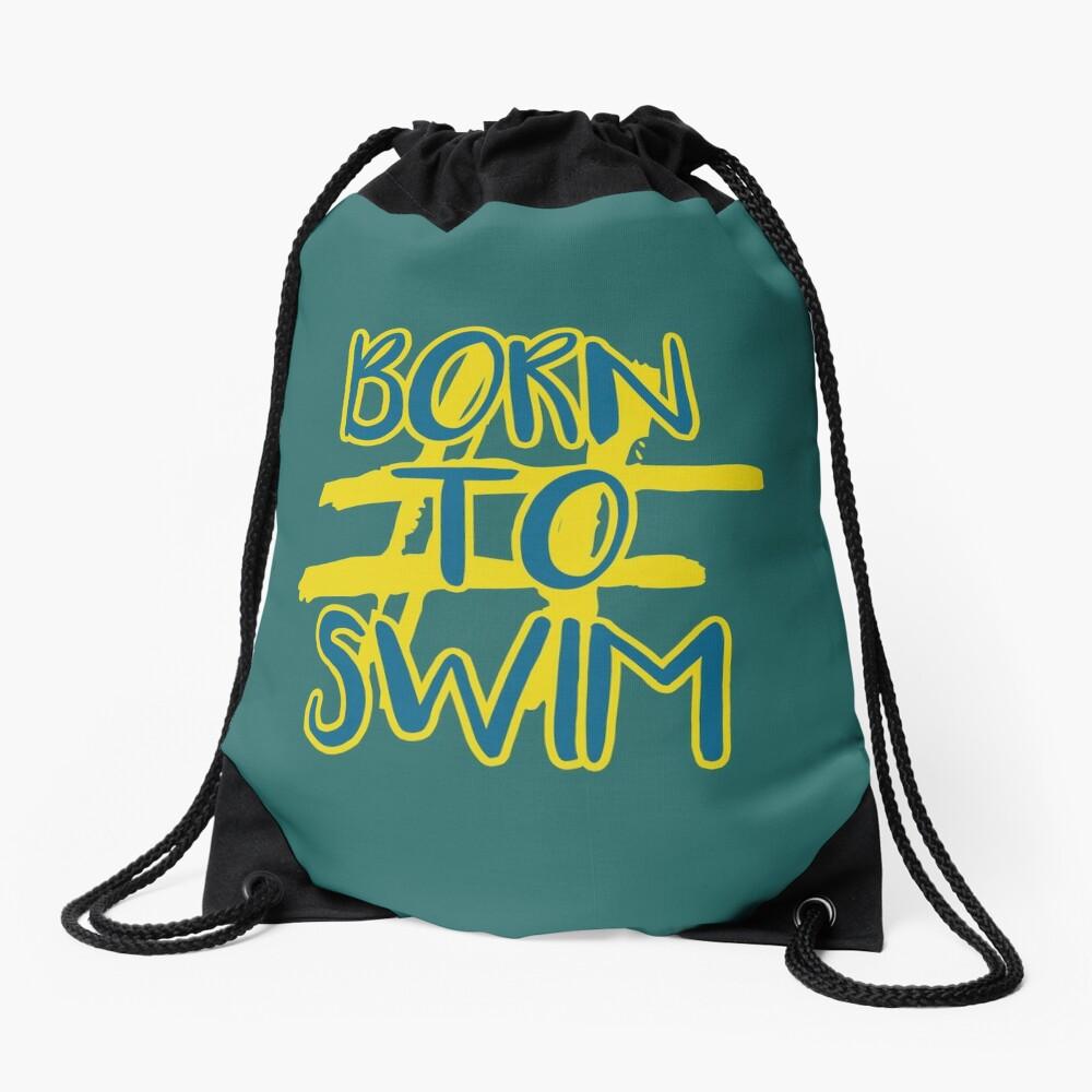 Hashtag Born To Swim Drawstring Bag