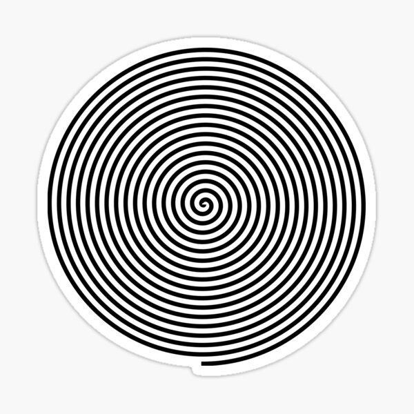 Hypnosis: Look into my eyes. Trippy, visual illusion. Black and White Sticker
