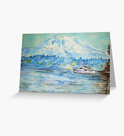Mt. Rainier at Tolmie State Park Greeting Card