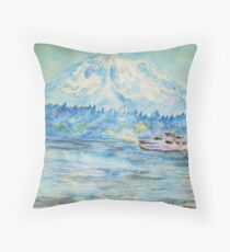 Mt. Rainier at Tolmie State Park Throw Pillow