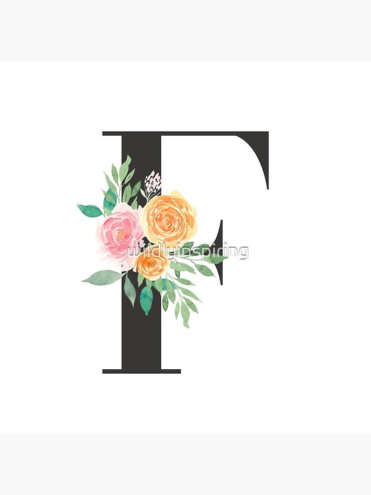 Black Pink Orange Rose Floral Typography F Monogram Alphabet Letters Greeting Card By Wildlyinspiring Redbubble
