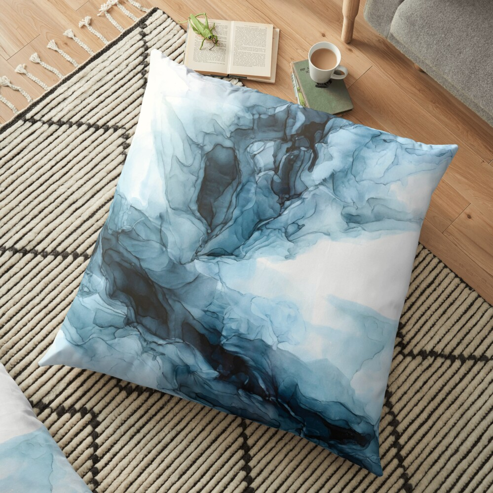 Blue Ice Water Phoenix Abstract Painting Floor Pillow