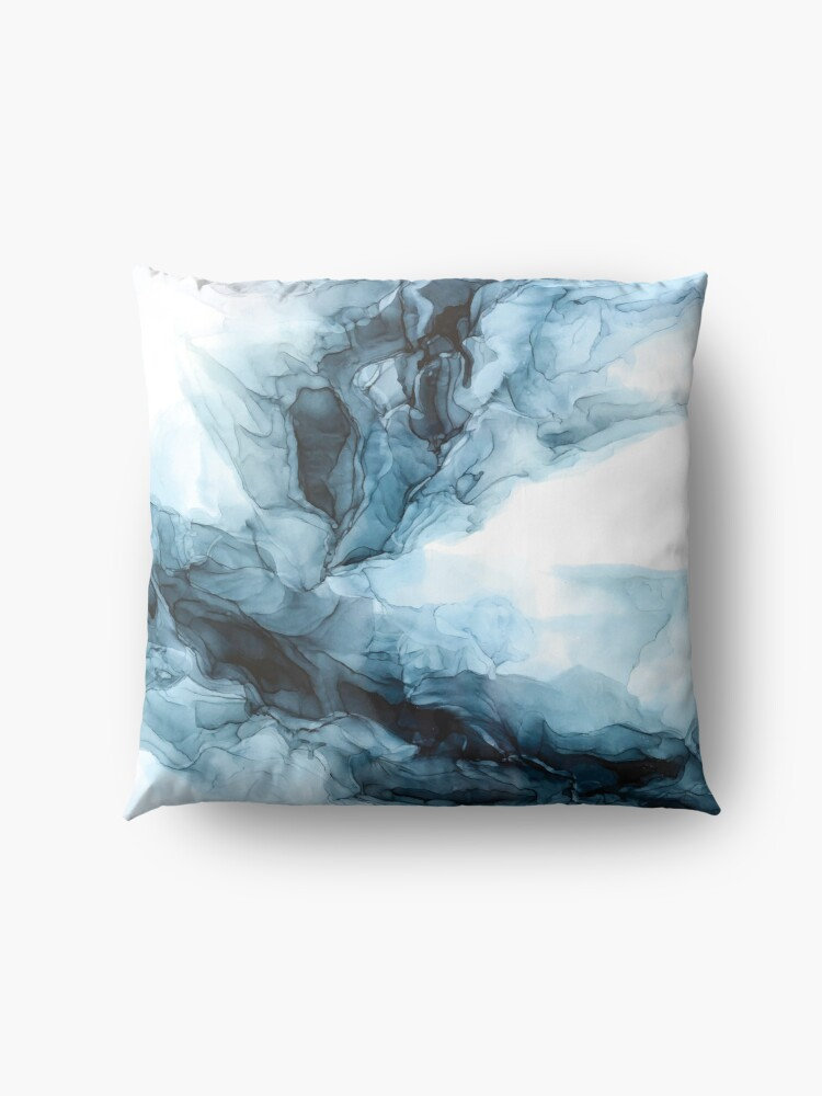 Alternate view of Blue Ice Water Phoenix Abstract Painting Floor Pillow
